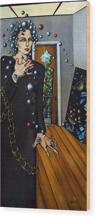 Surreal Wood Print featuring the painting Existential Thought by Valerie Vescovi