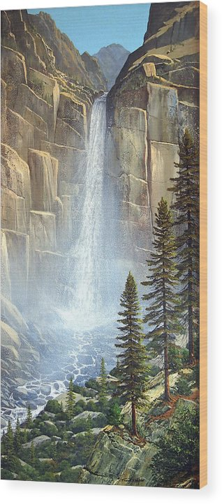 Great Falls Wood Print featuring the painting Great Falls by Frank Wilson
