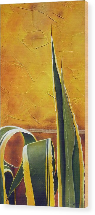 Agave Wood Print featuring the painting Agave Americana by Maribel Garzon