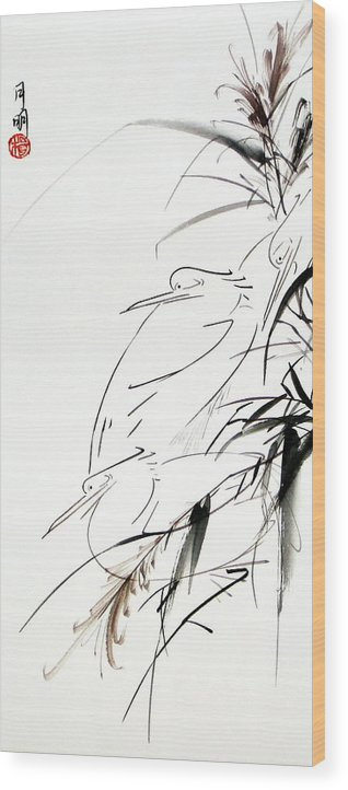 Chinese Painting Wood Print featuring the painting At Dawn by Ming Yeung