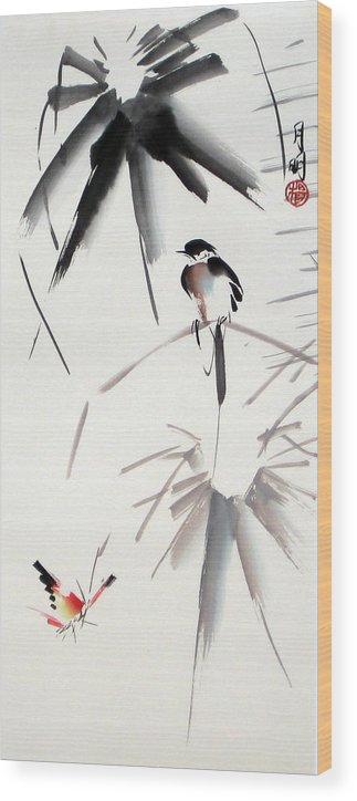 Bird Wood Print featuring the painting Hearing Rain by Ming Yeung