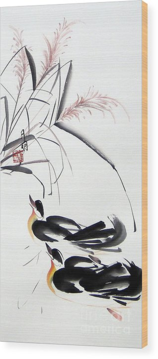 Chinese Painting Wood Print featuring the painting Home Coming by Ming Yeung