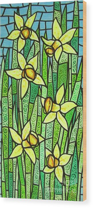 Jonquils Wood Print featuring the painting Jonquil Glory by Jim Harris