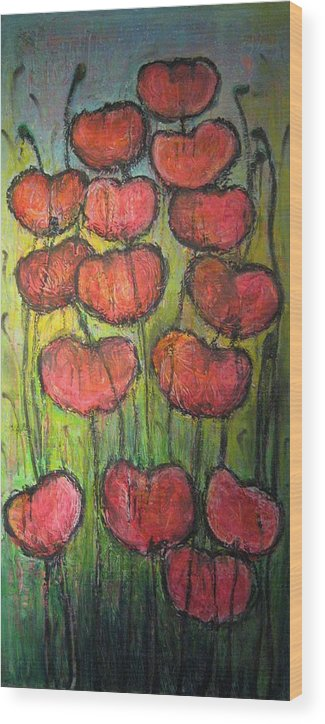 Poppies Wood Print featuring the painting Poppies In Oil by Laurie Maves ART