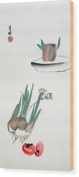 Chinese Painting Wood Print featuring the painting Seasonal Flowers by Ming Yeung