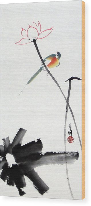 Chinese Painting Wood Print featuring the painting Spring Pond by Ming Yeung