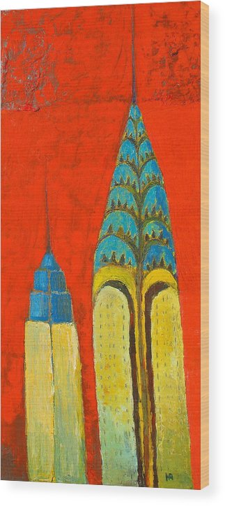 Wood Print featuring the painting The Chrysler And The Empire State by Habib Ayat