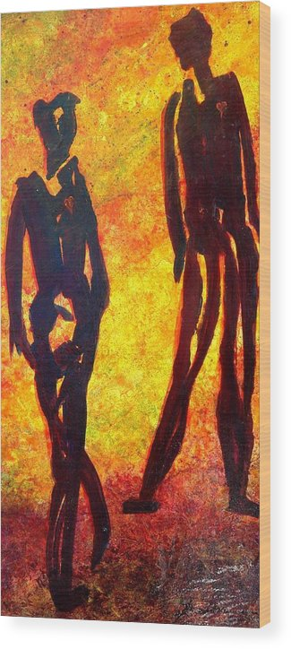 Man Wood Print featuring the painting The Dance by Marie Baehr
