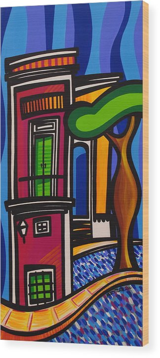 Puerto Rico Wood Print featuring the painting The Green Door by Mary Tere Perez
