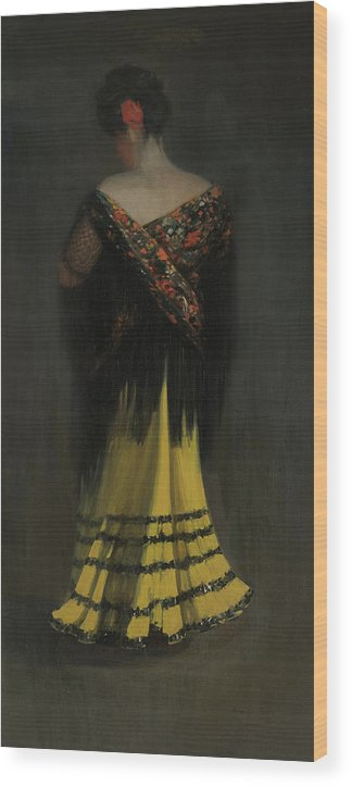 George Luks Wood Print featuring the painting The Spanish Shawl - Portrait Of Jeanne Frankenberg by George Luks