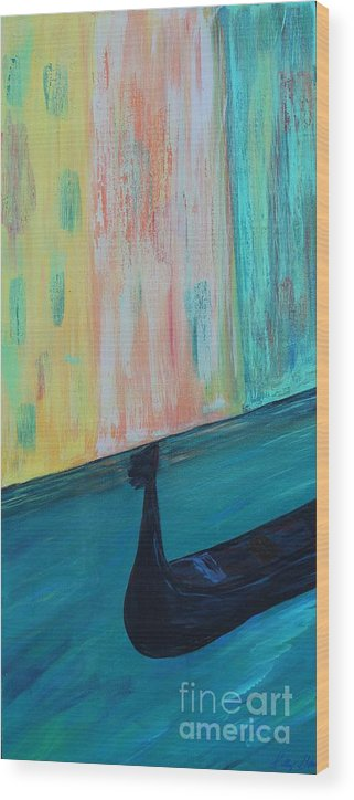 Venice Experience Italy Italian Gondola Romance Vacation Europe Greece Greek Boat Boats Canal River Water Waterfront Colorful Abstract Kelly Gowan Kellygowan Gondolas Wood Print featuring the painting Venice Experience by Kelly Gowan