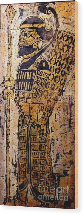 Batik Wood Print featuring the mixed media Assyrian Soldier by Caroline Street