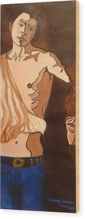 Figurative Wood Print featuring the painting The Mask Man by Erminia Schirru