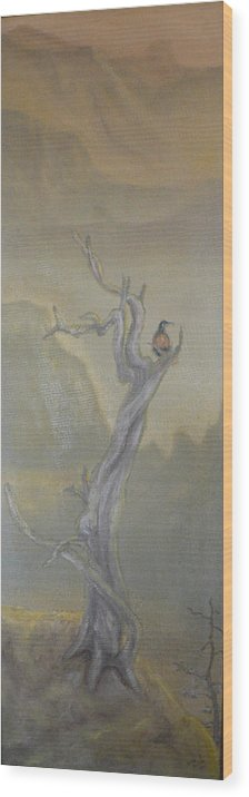 Bird Wood Print featuring the painting Lone Sentinel by Dan Bozich