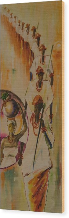 Wood Print featuring the painting Procession by Alfred Awonuga