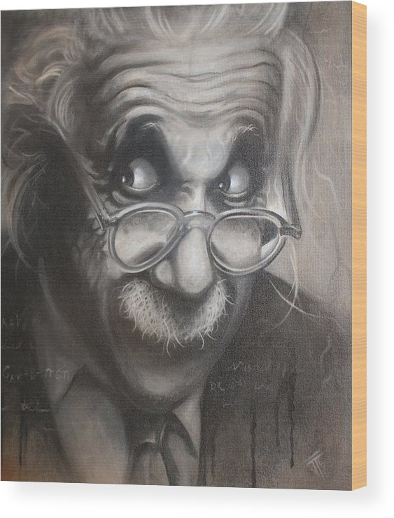 Einstein Wood Print featuring the painting Crazy Calculations by Joshua South