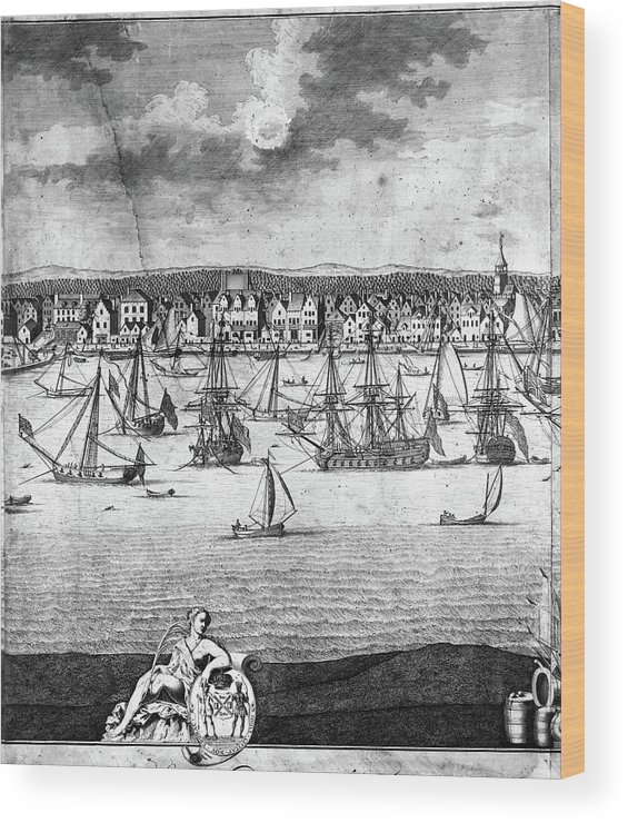 1717 Wood Print featuring the painting New York City, 1717 by Granger
