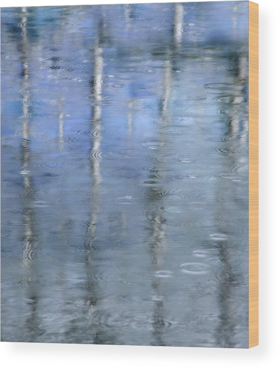 Architectural Abstract Wood Print featuring the photograph Raindrops On Reflections by KM Corcoran