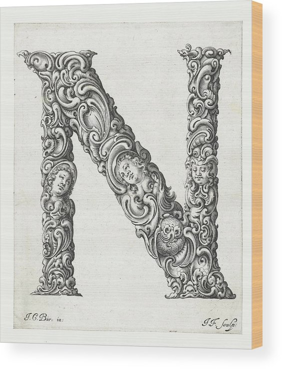 N Wood Print featuring the photograph Decorative Letter Type N 1650 by Georgia Fowler