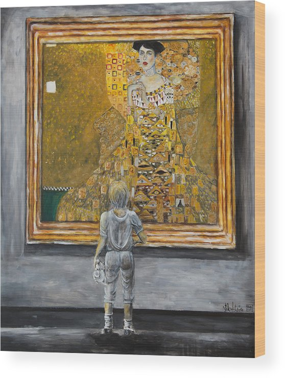 Painting Of Klimt Wood Print featuring the painting I Dream Of Klimt by Nik Helbig