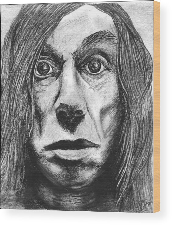 Iggy Wood Print featuring the drawing Iggy Pop by Cecilia Cooper