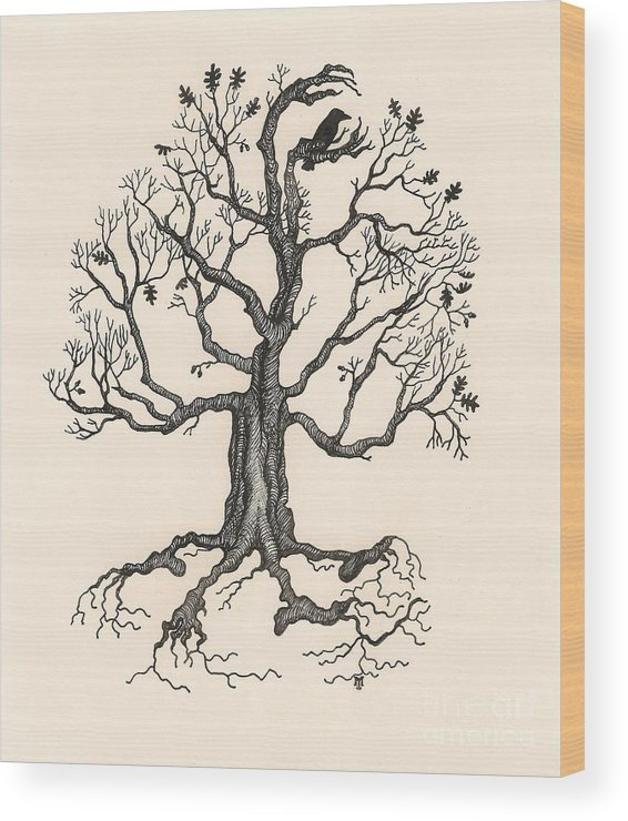 Ink Wood Print featuring the painting Raven's Magic Oak by Margaryta Yermolayeva