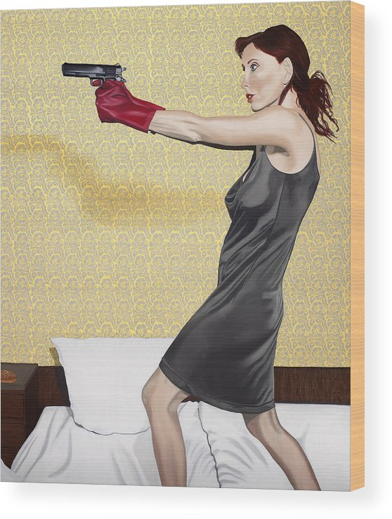 Red Gloves Wood Print featuring the painting Red Gloves by Marcella Lassen