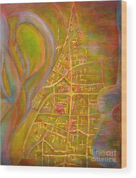 Blues Wood Print featuring the painting River City Blues by Sheri Hubbard