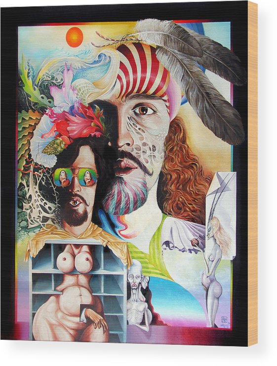 Surrealism Wood Print featuring the painting Selfportrait With The Critical Eye by Otto Rapp