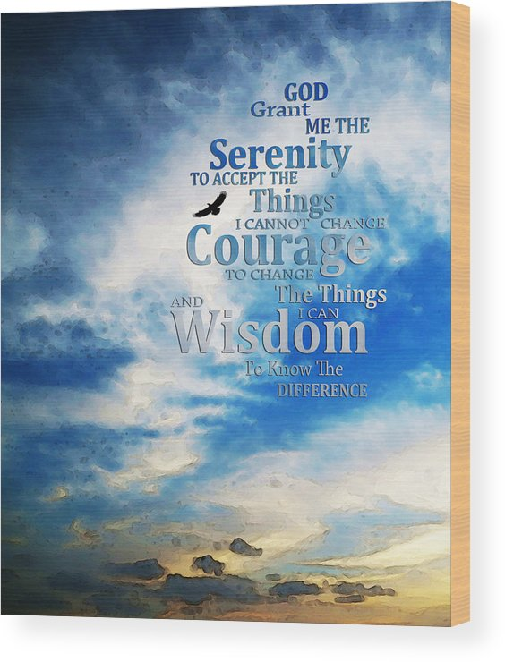 Serenity Prayer Wood Print featuring the painting Serenity Prayer 3 - By Sharon Cummings by Sharon Cummings