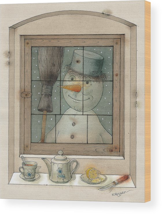 Snowman Winter Tea Breakfast Christmas Holiday Wood Print featuring the painting Snowman by Kestutis Kasparavicius