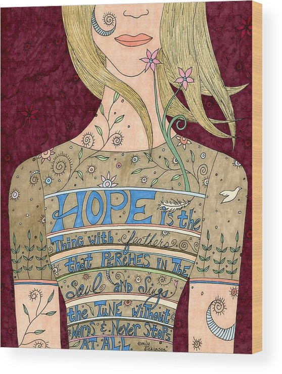 Woman Wood Print featuring the mixed media Song Of Hope by Valerie Lorimer