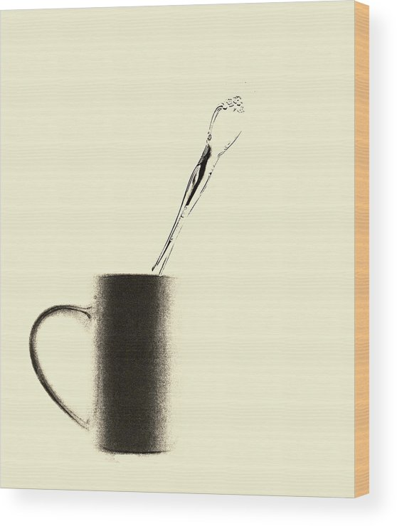 Coffee Wood Print featuring the mixed media Spoon With Cup by Bob RL Evans