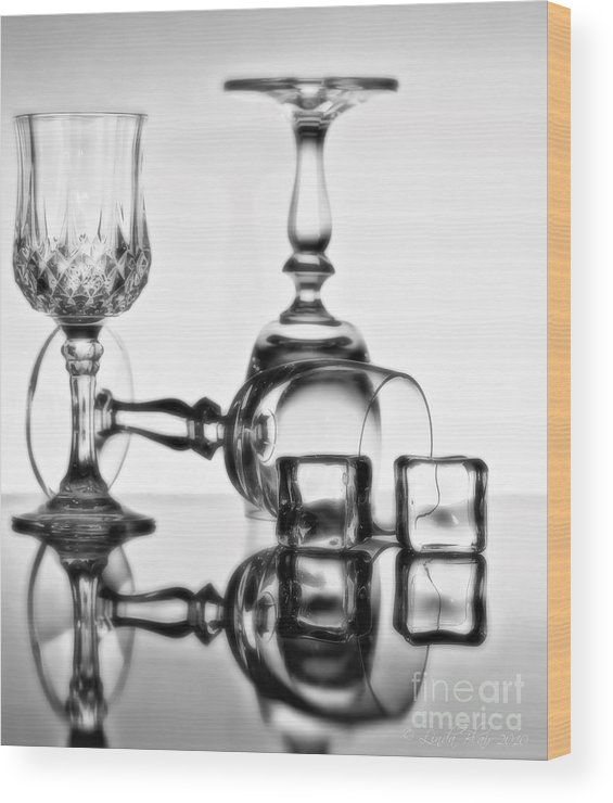 Cocktail Glasses Wood Print featuring the photograph The Party's Over by Linda Blair