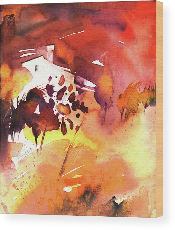 Landscapes Wood Print featuring the painting Autumn On Planet Goodaboom by Miki De Goodaboom