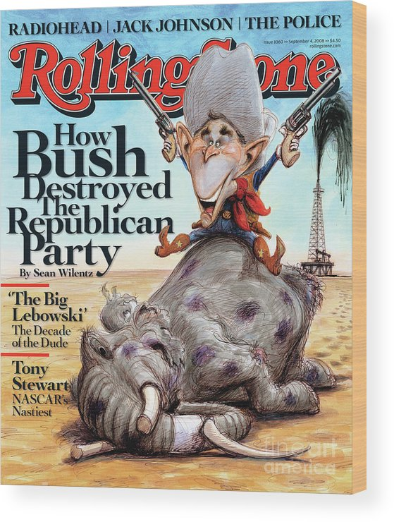 George W. Bush Wood Print featuring the photograph Rolling Stone Cover - Volume #1060 - 9/4/2008 - George W. Bush by Victor Juhasz