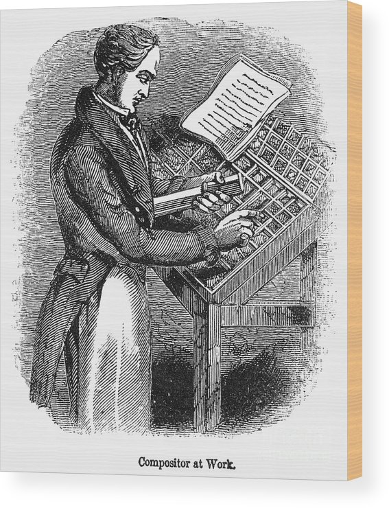 19th Century Wood Print featuring the photograph Typesetter, 19th Century by Granger