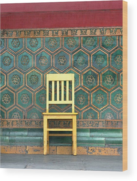 Yellow Wood Print featuring the photograph Yellow Chair At The Imperial Palace by Glennis Siverson