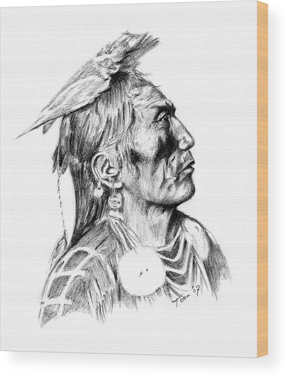 Portraits Wood Print featuring the drawing Crow Medicine Man by Toon De Zwart
