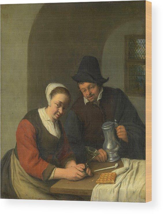Adriaen Jansz Hendricx Wood Print featuring the painting The Confidential Service by Adriaen van Ostade