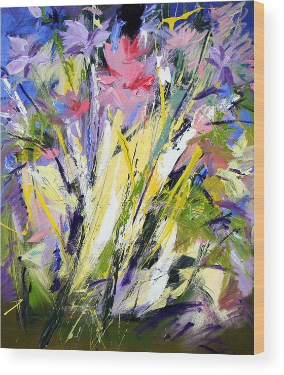 Abstract Flowers Wood Print featuring the painting Abstract Flowers by Mario Zampedroni