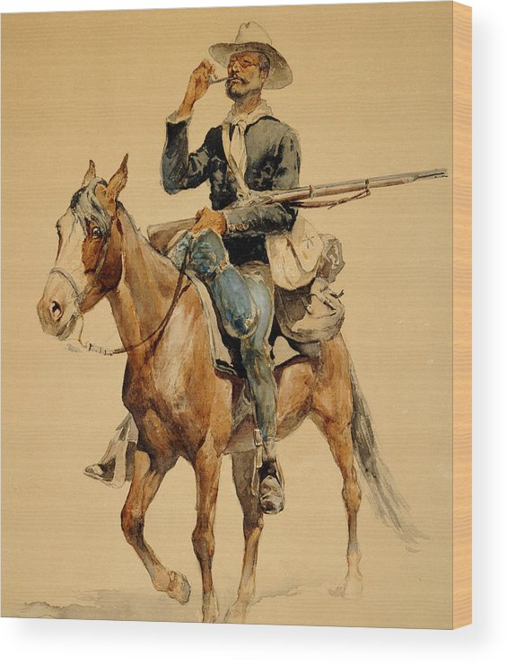 Remington Wood Print featuring the painting A Mounted Infantryman by Frederic Remington