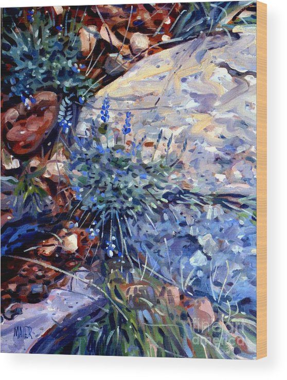 Blue Lupens Wood Print featuring the painting Arizona Flora Study by Donald Maier