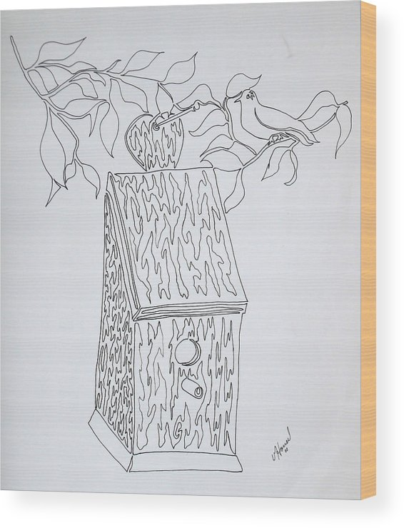 One Line Drawing Wood Print featuring the drawing Bird In A Line by Vicki Housel