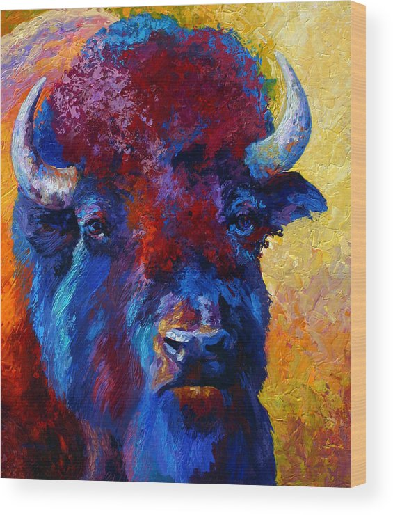 Wildlife Wood Print featuring the painting Bison Boss by Marion Rose