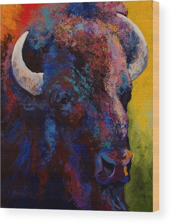 Bison Wood Print featuring the painting Bison Head Study by Marion Rose