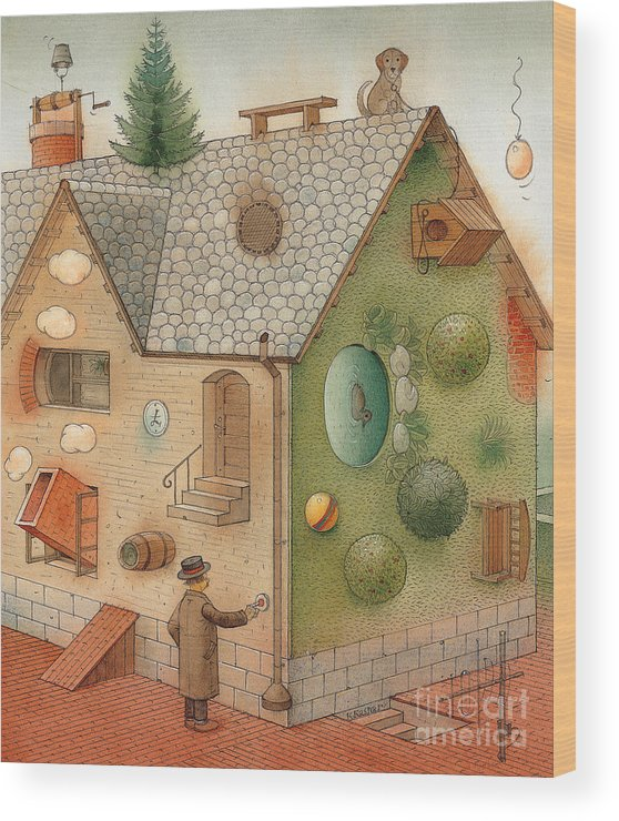 Superstition Home Green Humour Wood Print featuring the painting Black Day by Kestutis Kasparavicius