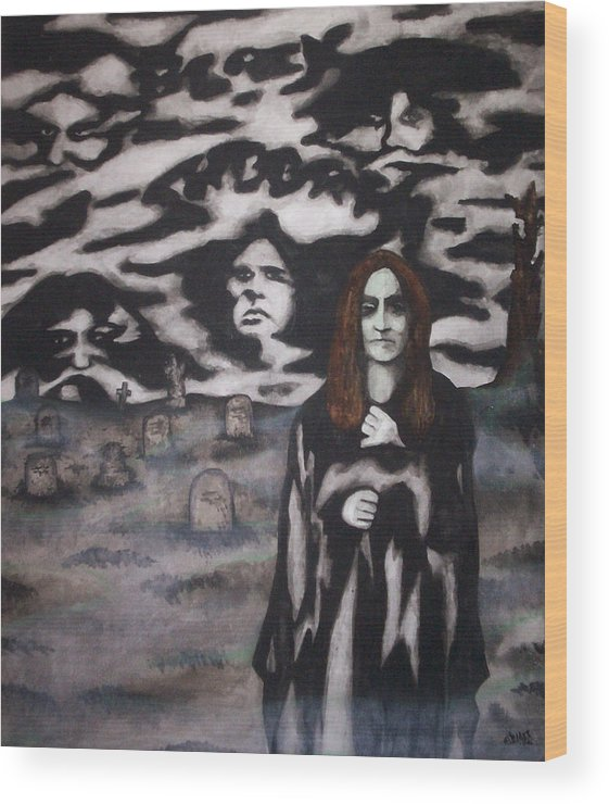 Ozzy Osbourne Wood Print featuring the painting Black Sabbath Tribute by Sam Hane