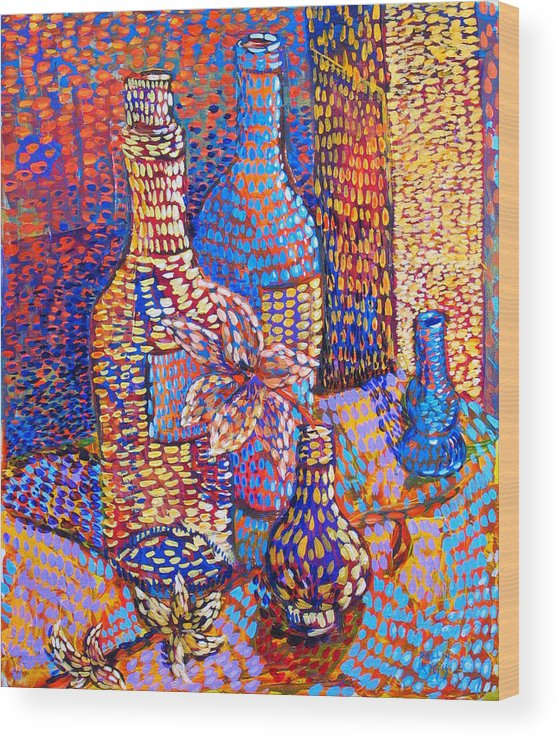 Still Life Wood Print featuring the painting Bottles And Vases by Rollin Kocsis