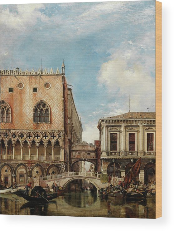 Canal Wood Print featuring the painting Bridge Of Sighs, Venice by Edward William Cooke